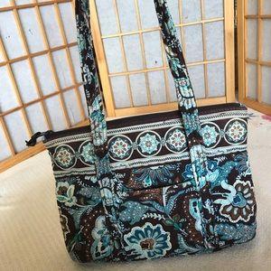 Quilted blue and brown Vera Bradley shoulder bag